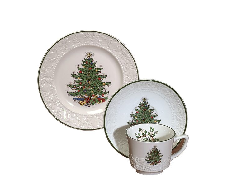 Coffee & Dessert Set - SPECIAL - Cuthbertson Original Christmas Tree Dickens Embossed Pattern